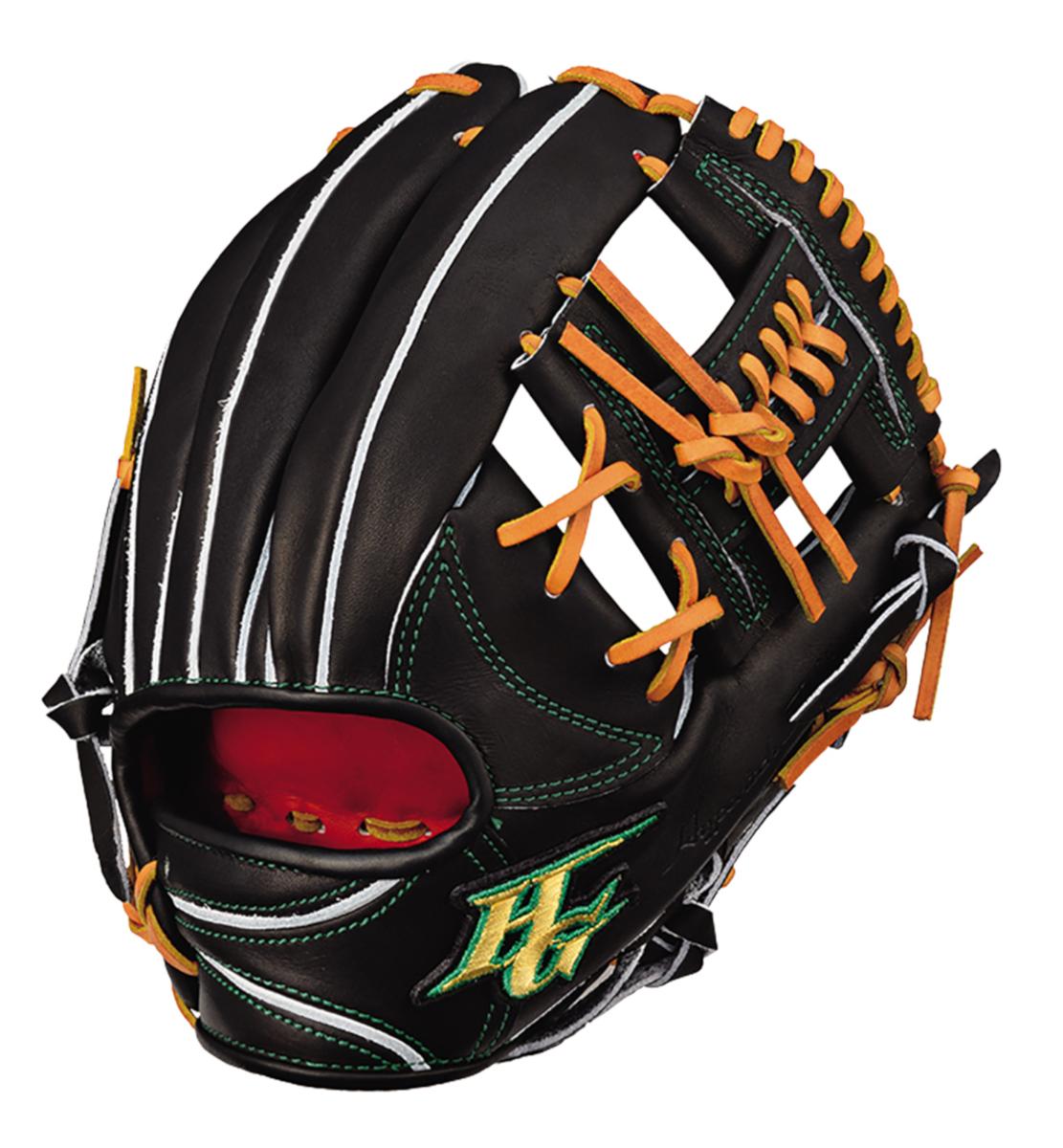 ハイゴールド 硬式野球グラブ 心極(和牛シリーズ) 二塁手用グローブ ブラック×タン 右投げ KKG2004BK 送料無料 2020年モデル