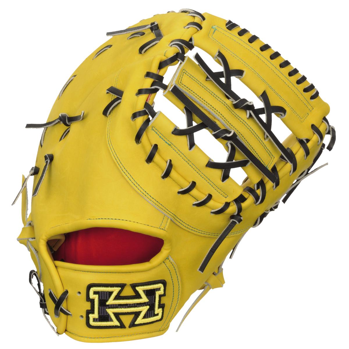 ハイゴールド 硬式野球ミットPAG DELUXE(デラックス)シリーズ 一塁手用グローブ オープンバック PAGイエロー×ブラック PAGF200 送料無料 2020年モデル