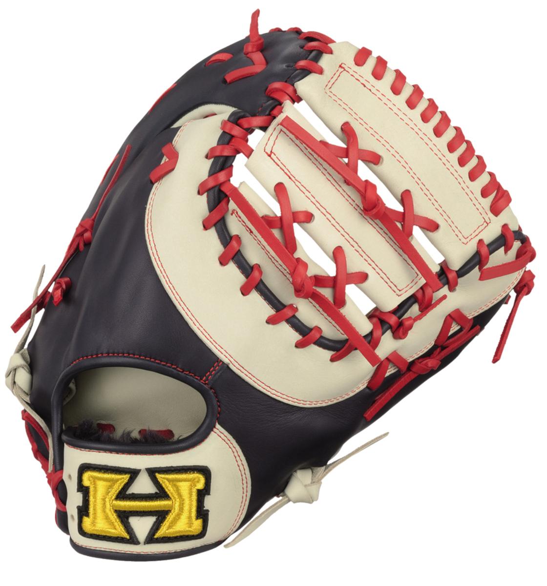 ハイゴールド ソフトボールミット ベーシックカスタマーシリーズ 一塁手用 ホワイト×ネイビー×レッド BSG87F