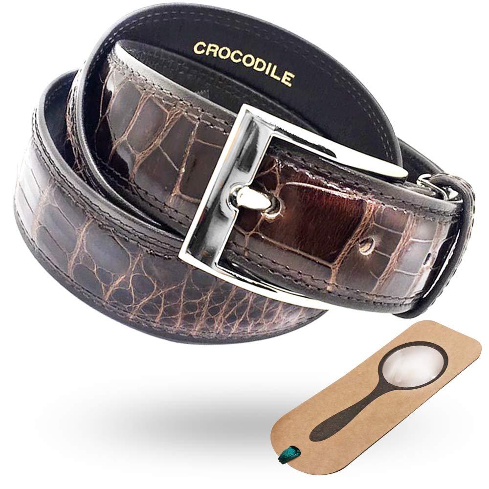職人手作りの一生物 クロコダイルベルト 日本製 ナイルクロコ本革使用+しおり型ルーペ付