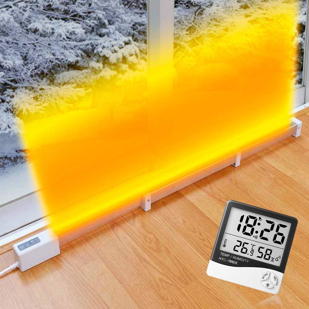 窓の冷気を熱のシールドで遮断 窓下ヒーター2 伸縮タイプ 90cm~130cm ゼンケン正規品 ZK-130「湿度&温度計」付き
