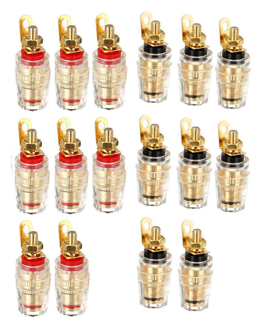 スピーカーの自作におすすめ バナナプラグ対応 スピーカーターミナル バナナプラグ 本物 対応 バインディング ポスト SALE開催中 端子 A01468-16 直径14mm ポイント消化 16個セット:赤×8 黒 黒×8 赤