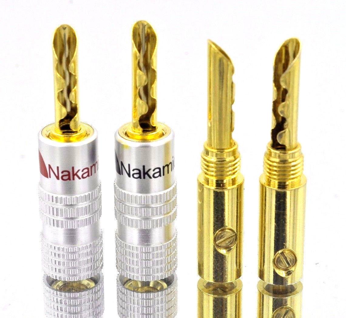 ナカミチ Nakamichi 24K 金メッキ バナナプラグ 円筒波型 スピーカー 赤黒20本セット