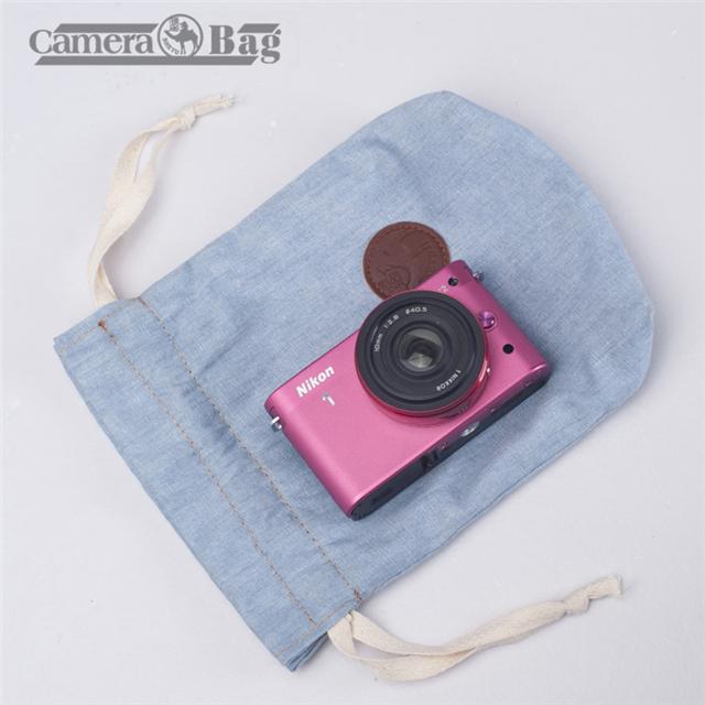 AseiwaA カメラポーチ カメラケース ミラーレス レンズポーチ 巾着型 布製 デジカメ 一眼レフ マルチポーチ バッグインバッグ 耐衝撃 全10色 (ピンク)