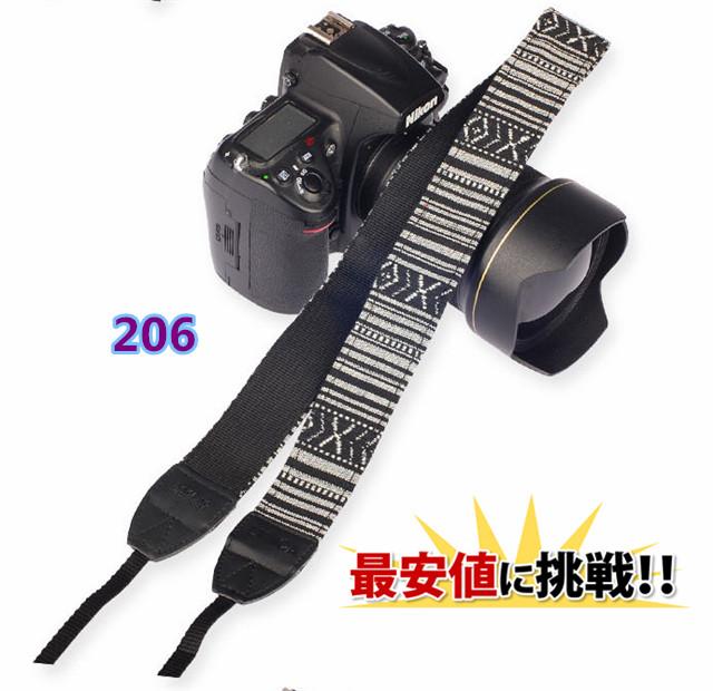 カラフルで女子に人気な、おしゃれな柄のカラフルストラップ 一眼レフ ミラーレス用 カメラネック ストラップ 206 Canon Nikon Sony leica olympus OM-D 用 おしゃれ カメラ ストラップ ポイント消化