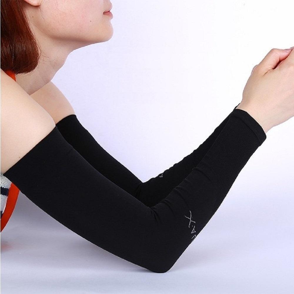 aquaX 接触冷感 UV アームカバー レディース 指穴なし (ブラック)