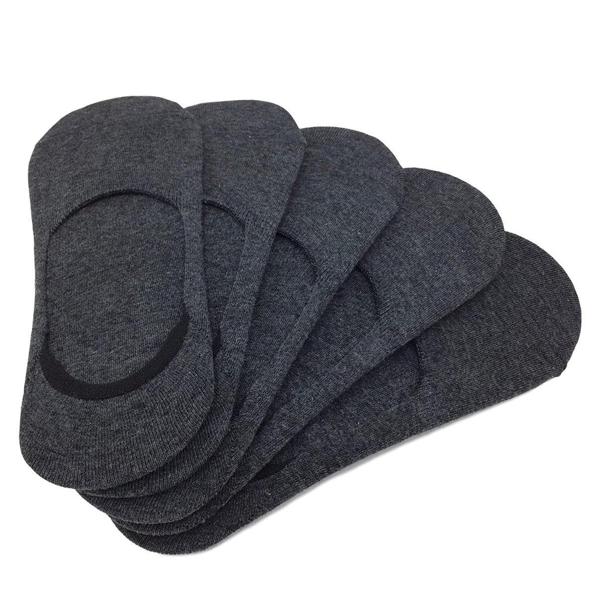 フットカバー 選択 レディース 特別セール品 すべり止めつき 靴下 ポイント消化 5足セット E-2 濃グレー