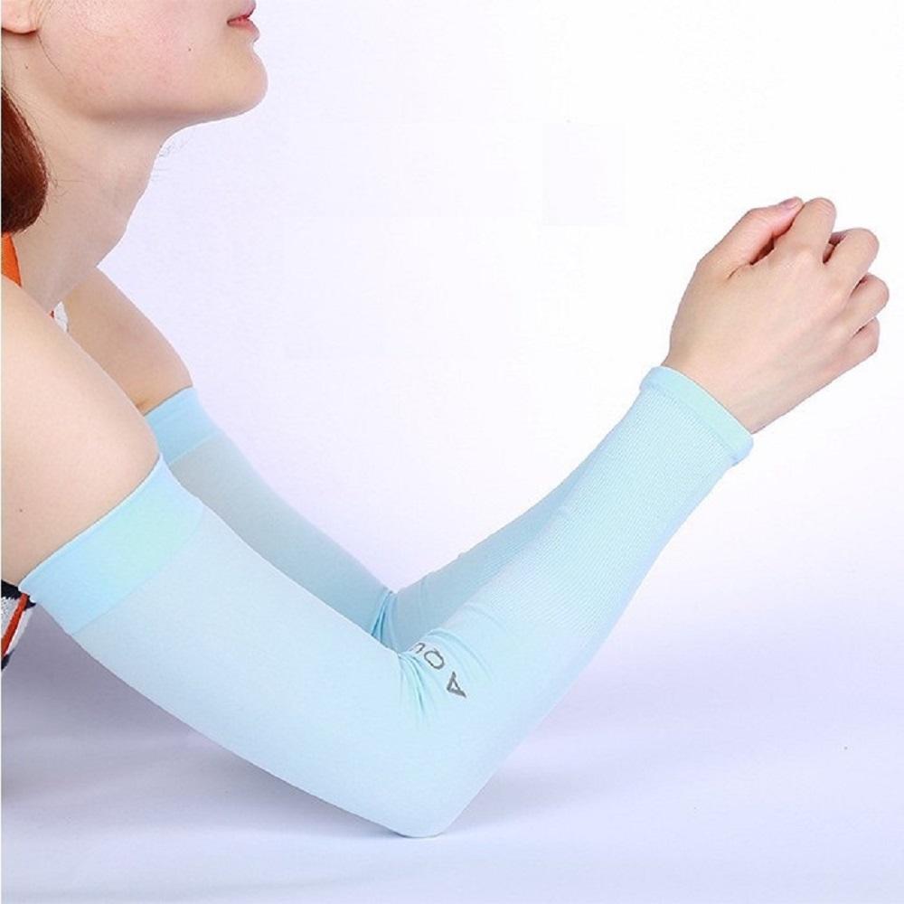 クールな触感でUV対策 紫外線が気になる季節の必需品 トレンド aquaX 接触冷感 UV 超人気 ブルー アームカバー レディース ポイント消化 指穴なし