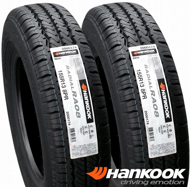 ハンコック RADIAL RA08 (RA08)155R13/8P.R. 新品タイヤ4本セット耐摩耗性とウエットトラクションを向上させたバン専用ラジアルタイヤ当社在庫!!