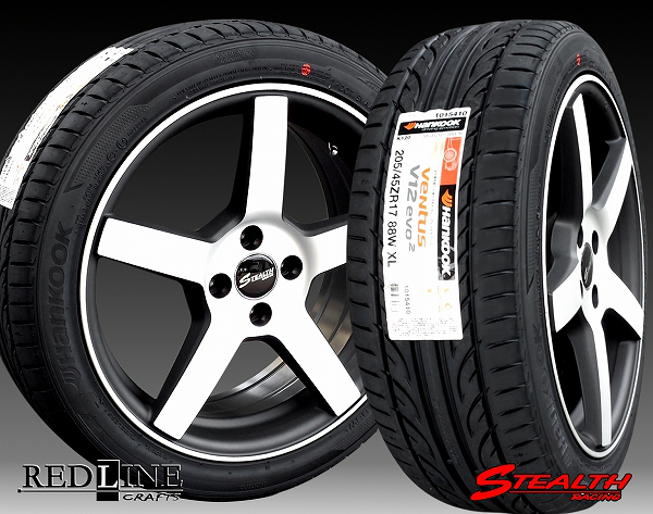 ■ STEALTH Racing Spec-02 17in ■Hankook 205/45R17 タイヤ付4本セットBMWミニに好評!!もちろん国産コンパクトカーにもお勧め!!