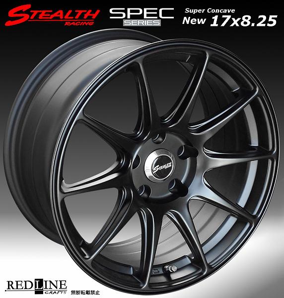■ STEALTH Racing SPEC-01 ■17X8.25J+20 PCD114.3 バラ売り2本セット走り屋/チューニングカーにお勧め幅広サイズ!!強い逆ゾリのレーシングデザイン