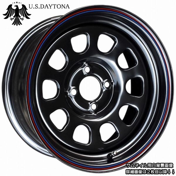 ■ U.S.Daytona デイトナ ■15x7.0J 前後異オフセット +20/+10 PCD100ブラック色 ホイール4本セット走り屋/ヘラフラ/シャコタン推薦!!カスタム/チューニングサイズ