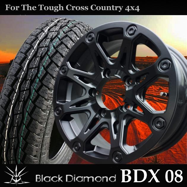 ■ BlackDiamond BDX08 ■TOYOオープンカントリーAT plus175/80R16タイヤ付き4本セット ジムニー専用 クロカン仕様車推薦!!オフロードイメージ溢れるフォルム!!
