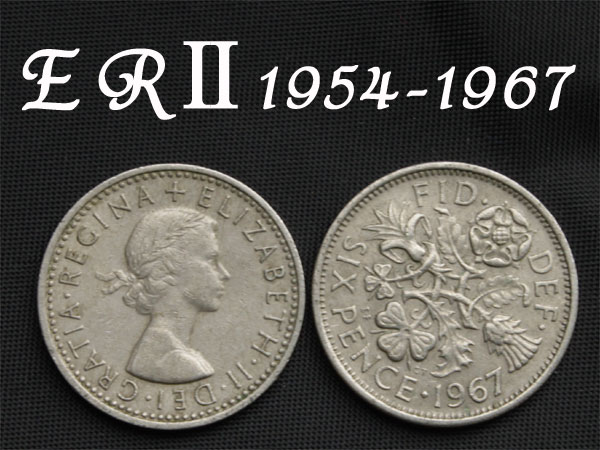 United Kingdom of happiness 6 pence coin 1954 ~ shipping 80 Yen 1954, 1955, 1956, 1957, 1958, 1959, 1960, 1961, 1962, 1963, 1964, 1965, 1966, 1967, in 1967)