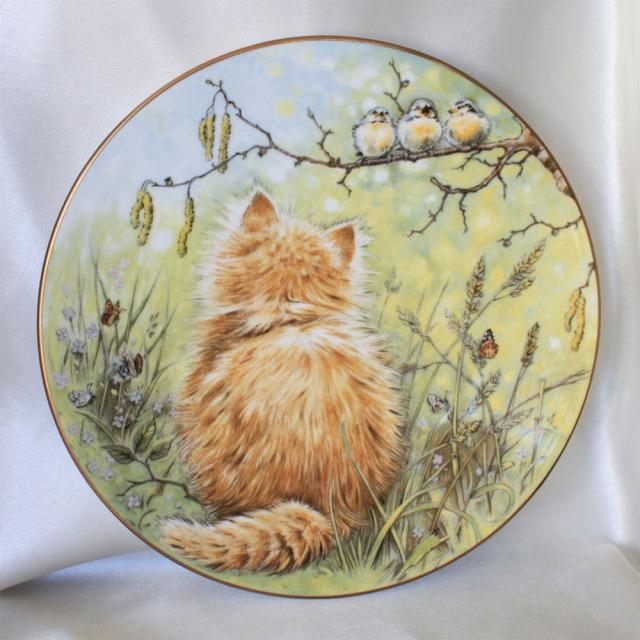 バード ウォッチャー 小鳥を見る子猫 1985年 可愛らしい子猫の絵皿 ロイヤル ウースター Royal Worcester ネコ コレクターズ プレート 絵皿 キティン クラシック 【送料無料】 【中古】