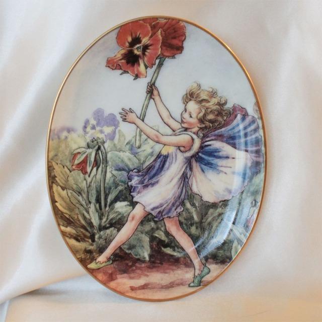 1998年 75周年記念 パンジー フェアリー ロイヤル ウースター Royal Worcester Pansy Fairy 花の妖精が可愛らしい フラワー フェアリー 75周年記念の楕円の絵皿 シシリー メアリー バーカー イギリス 【送料無料】 【中古】