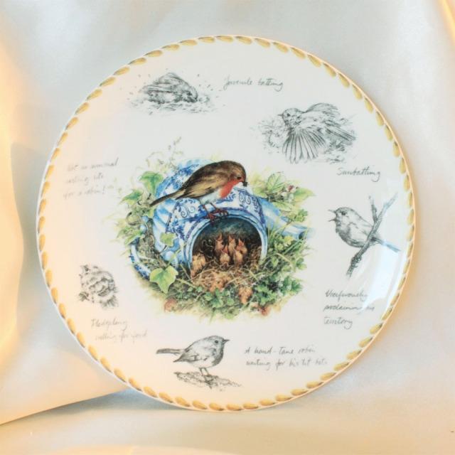 ロビン Robin エリック ロブソン Eric Robson バードウォッチャーズ ノートブック birdwatcher's notebookティーポットのコマドリの親子 ウェッジウッド WEDGWOOD コレクターズプレート イギリスの小鳥 ダンバリー ミント 【送料無料】