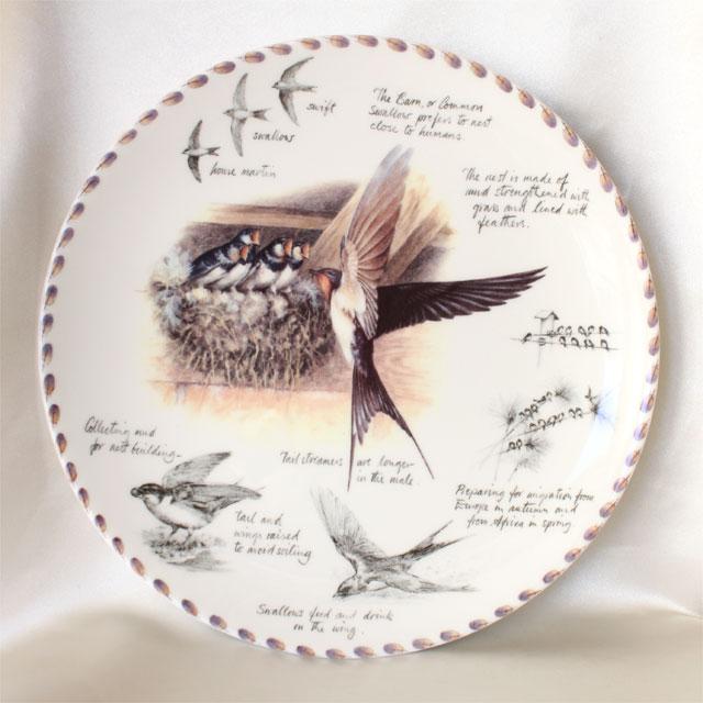 スワロー Swallow ツバメ バードウォッチャーズ ノートブック birdwatcher's notebook 鳥の親子 ウェッジウッド WEDGWOOD プレート 絵皿 イギリス ダンバリー ミント コレクション プレゼント ヴィンテージ 【中古】【送料無料】