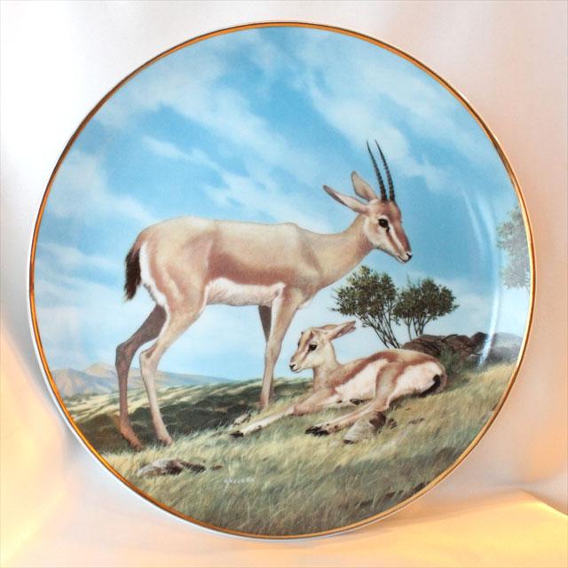 1990年 ガゼル Horned Gazelle 絶滅危惧種 限定発行 ウィル ネルソン画 W.I.George コレクターズ 絵皿 ウォール プレート 飾り皿 プレゼント ギフト 【中古】 【送料無料】