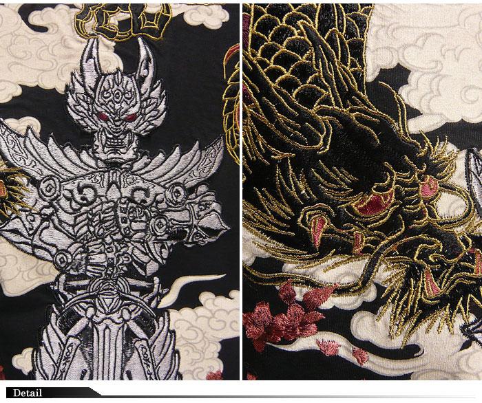 加罗短剑 [钻 Jara] [加罗洛] 协作与雷暴图案刺绣图案 t 恤 / polo 衫 /GRH-404