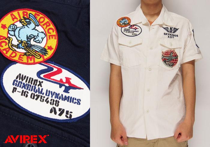 AVIREX[アヴィレックス] ワッペン 半袖シャツ/6165104/送料無料【ワッペンが特徴的なAVIRXの半袖シャツ!】