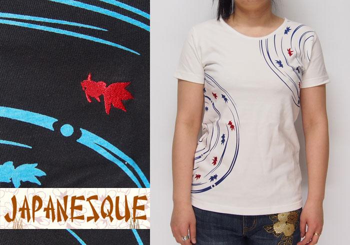 ジャパネスク レディース 波紋小金魚柄 刺繍 和柄Tシャツ/半袖/4RFT-602/送料無料【ジャパネスクのレディース和柄Tシャ