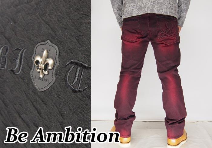 Be Ambition[ビーアンビション] スカル エンボス加工 ジーンズ/デニム/D28203/送料無料【ビーアンビションから新作ジーンズが登場!!】