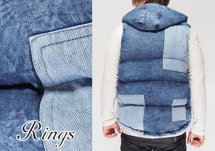 Rings[リングス] デニム パッチワーク 中綿 ベスト/137107/送料無料【Rings[リングス]から新作ベストが登場!!】