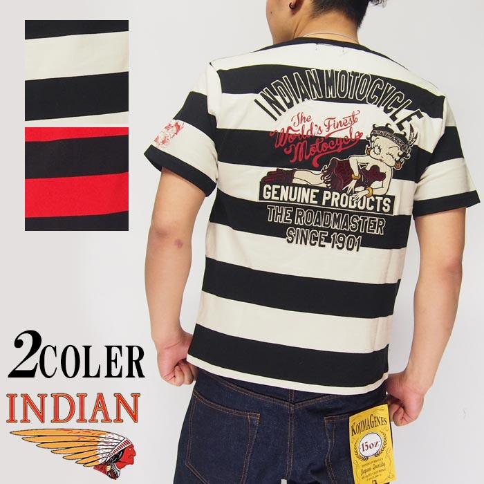INDIAN MOTOCYCLE[インディアンモトサイクル]×ベティブープ ベティー インディアン 刺繍 Tシャツ/メンズ/BBI-909/送料無料【インディアンから新作ロングTシャツが登場!!】