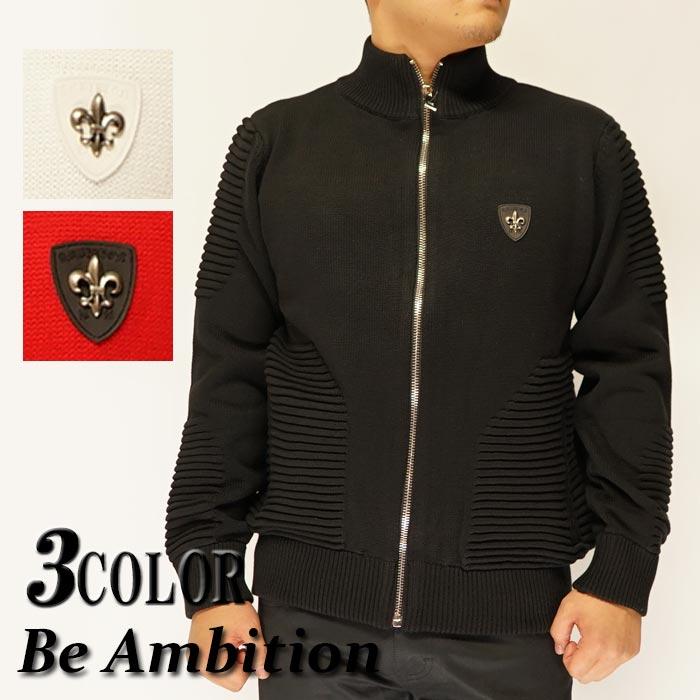 Be Ambition ビーアンビション ジャケット 長袖 メンズ ユリ ワッペン ニット ブルゾン N29201/送料無料【ビーアンビションから新作ジャケットが登場!!】