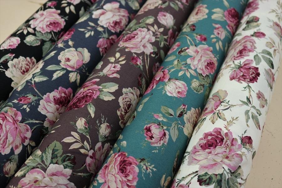 50cm以上10cm単位での販売 バラ 花柄 プレゼント ロココ調 ツイル生地 日本製 約110cm巾 未使用 綿100% エプロン 50cm以上10cm単位で販売 クッションカバー バッグ作りなどにオススメ