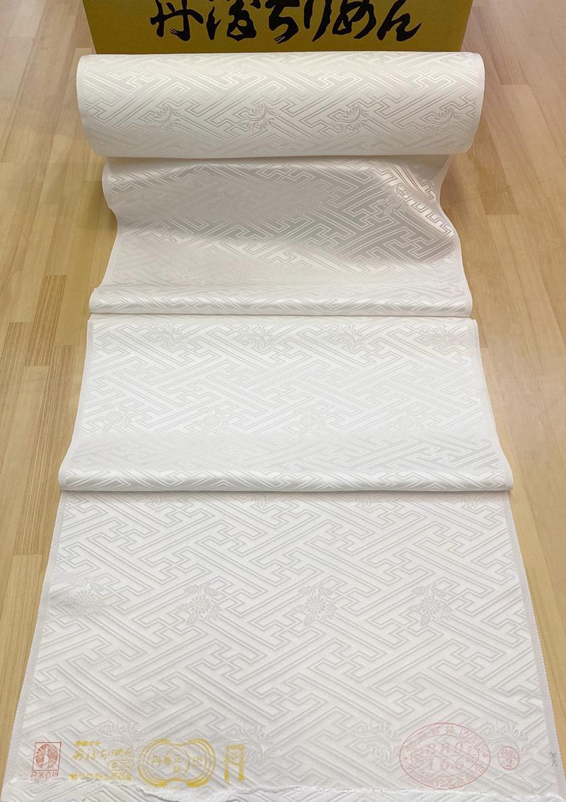 LLサイズ巾/尺5分40cm幅16m巻/四丈物/大きなサヤ型に菊と蘭の柄(本紋さや型/4付き)振袖用白生地京丹後市で織り上げています。 【丹後直送品】シルク紋織白生地縮緬AB格/LLサイズ巾/尺5分40cm幅16m巻/四丈物/大きなサヤ型に菊と蘭の柄(本紋さや型/4付き)振袖用白生地しっとり柔らかな丹後正絹りんず生地/ちりめん人形・草木染め/袱紗/マスク/シルク100%/日本製/つまみ細工/