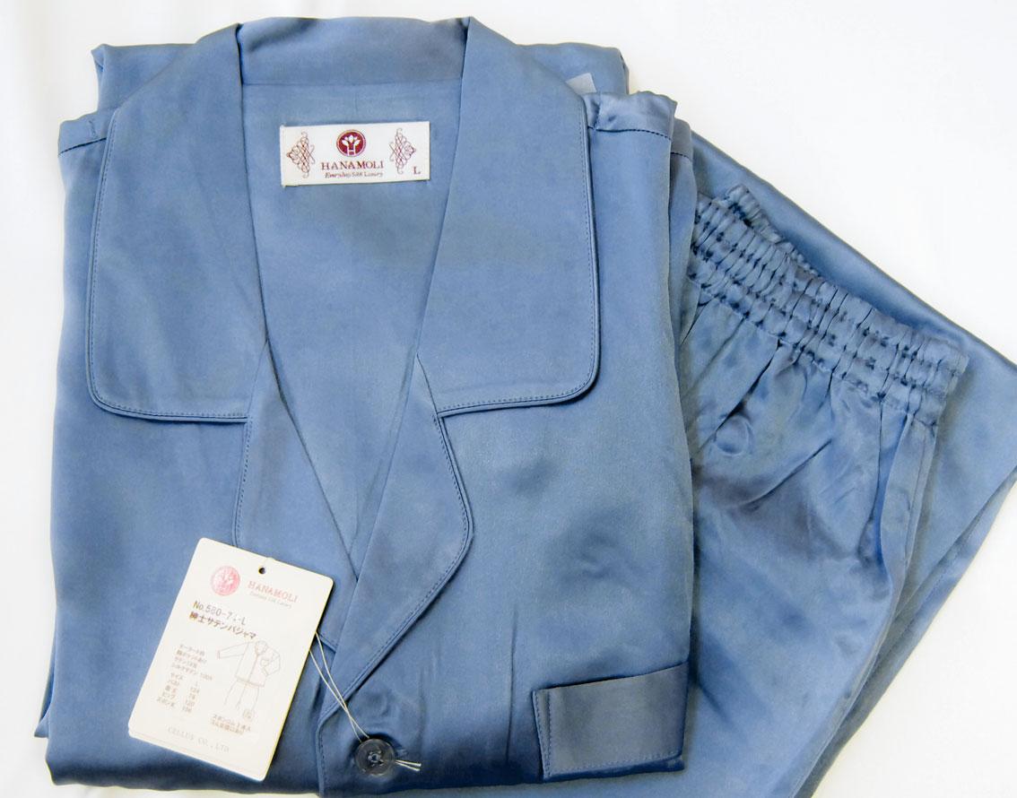 【気持ち良く熟睡できるシルクパジャマ】丈夫な厚手19匁シルク100%美容と健康パジャマ(男性用)ズボンは前開き一つボタン仕上げ。 シルクの効果で快適快眠~♪肌の保湿力アップ効果/中国製/冷え取り/肌の保湿/保湿/送料無料/16000