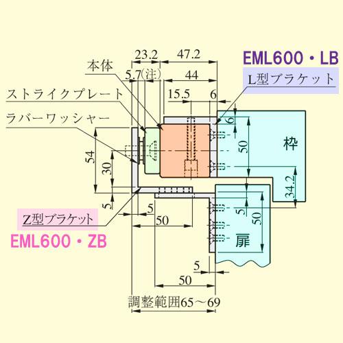 MIWA 電磁石錠 EML600・ZB Z型ブラケット (マグナロック同等品)