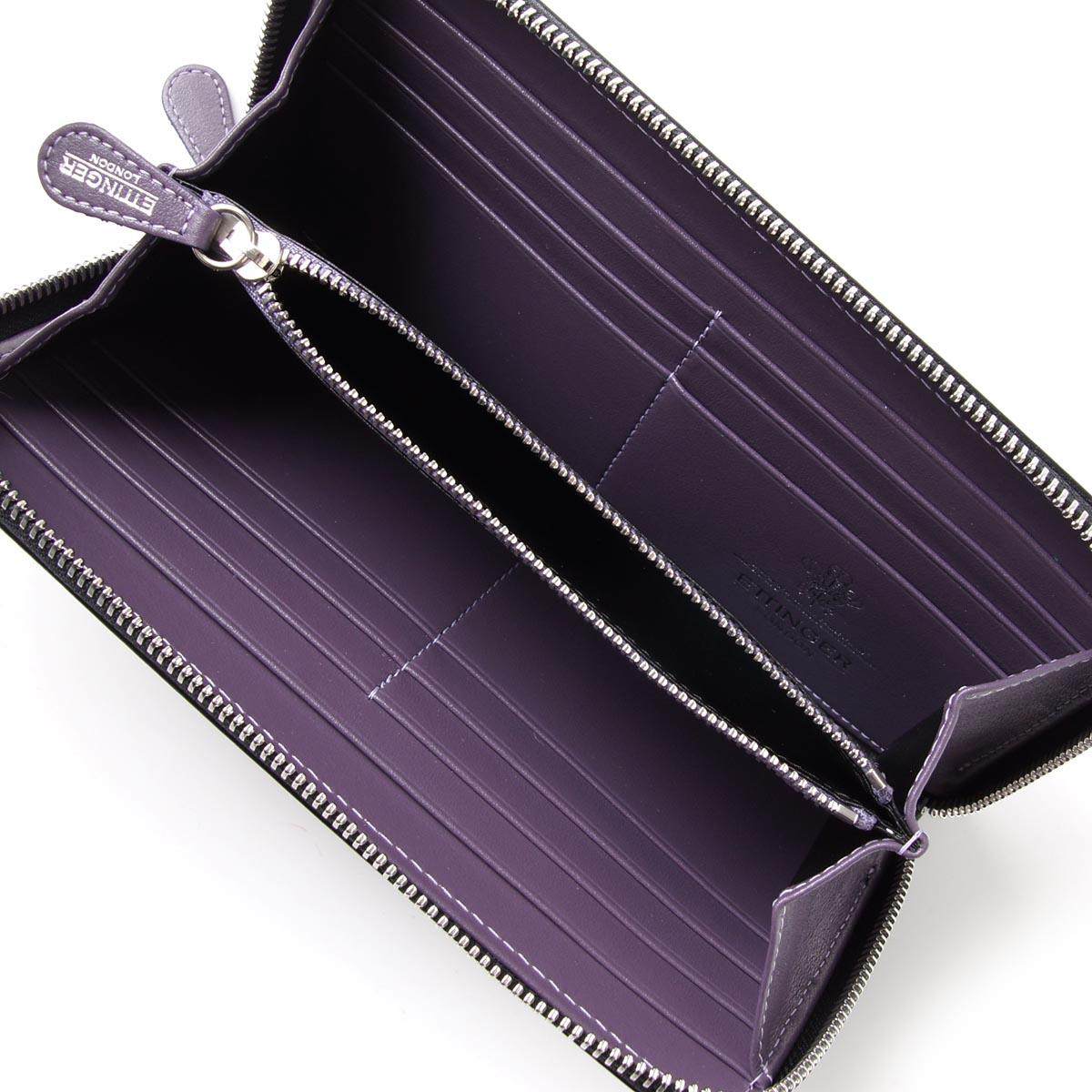 Ettinger ETTINGER round fastener long wallet [with the coin purse] royal collection BLACK X PURPLE black system st2051ejr men