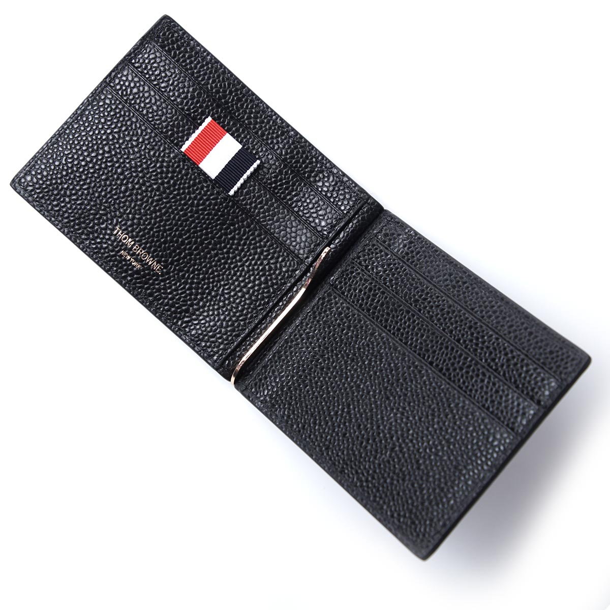 save off d6ed3 83189 Tom Browne THOM BROWNE. Money clip black men wallet wallet leather gift  present maw025l 00198 001 MONEY CLIP WALLET IN PEBBLE GRAIN