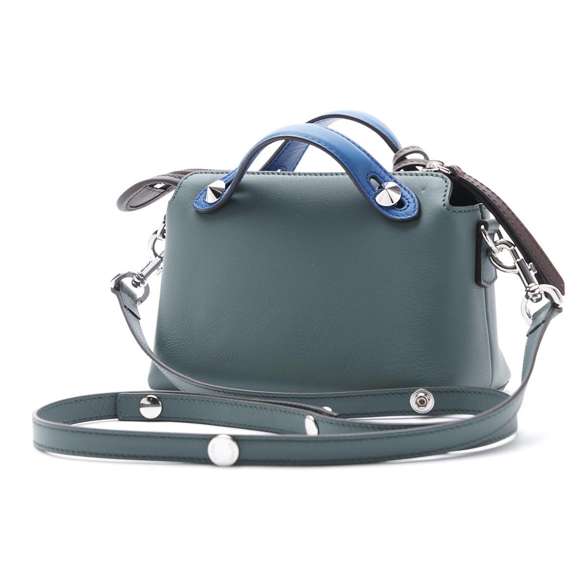 芬迪FENDI宽底旅行皮包(2WAY式样)BY THE WAY面罩方法LEATHER MALACHITE×DOVE×MULTICOLOR蓝色派8bl135 5qj f07ff女士