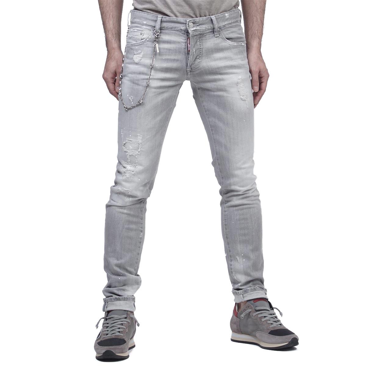Dis kelp grouper ard DSQUARED2 button fried food jeans SLIM JEAN slim gray gray system s74lb0122 s30260 852 men