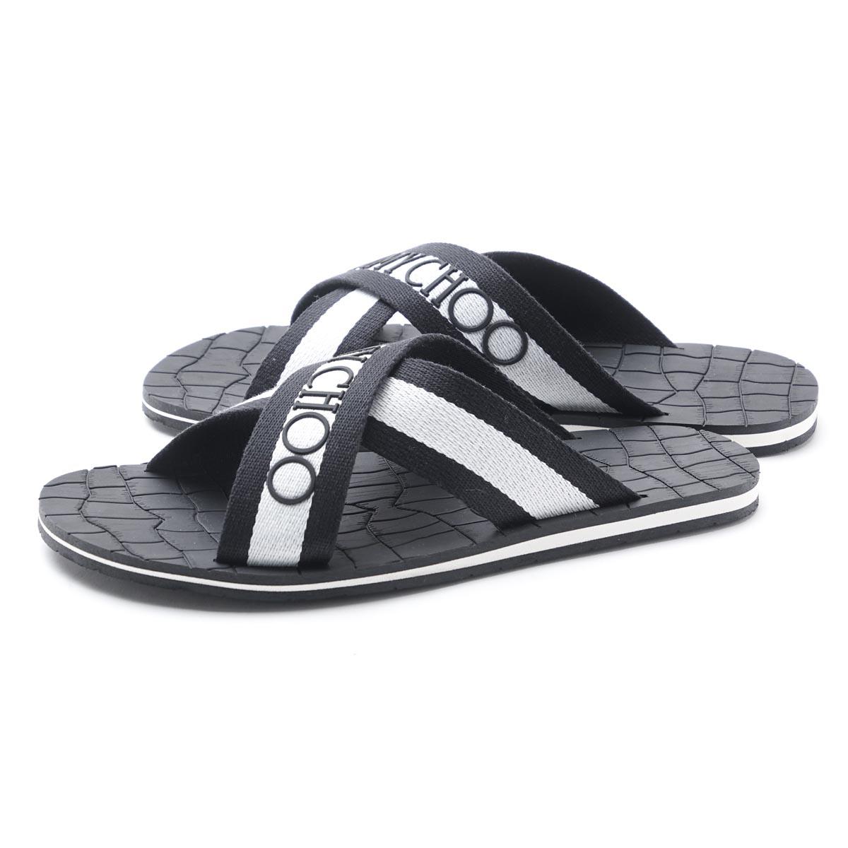 ジミーチュウ JIMMY CHOO beach sandal CLIVE BLACK X WHITE black system clive ggu black