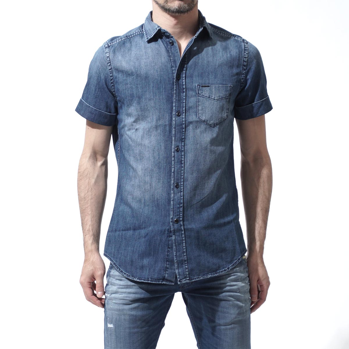 柴油DIESEL短袖粗斜纹布衬衫D-KENFALL INDIGO蓝色派d kendall 00sxqe 00qapm人