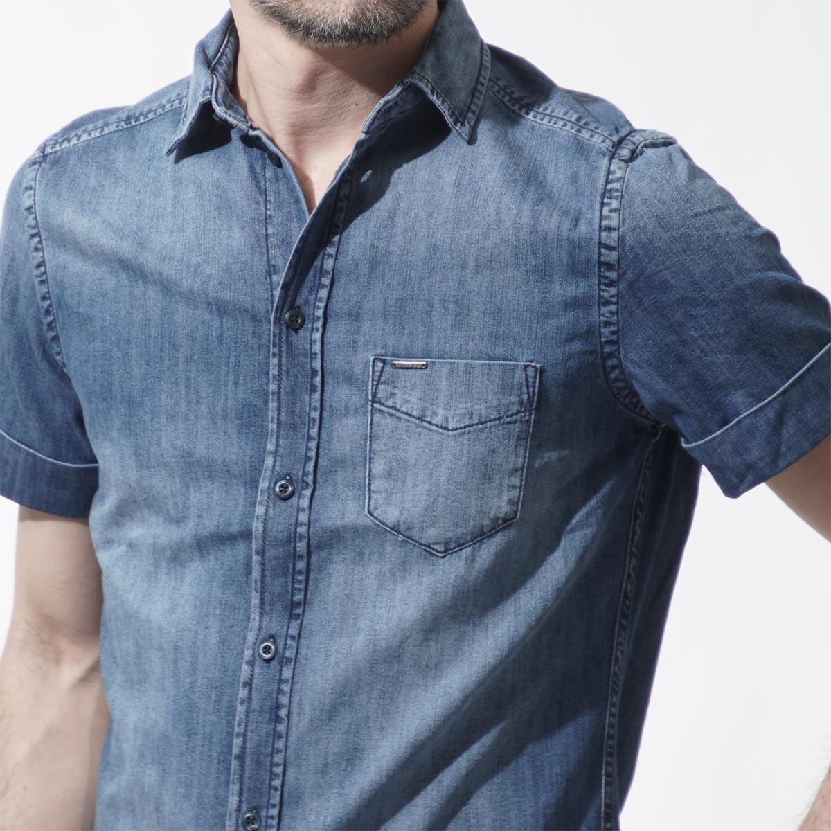 柴油DIESEL短袖粗斜紋布襯衫D-KENFALL INDIGO藍色派d kendall 00sxqe 00qapm人