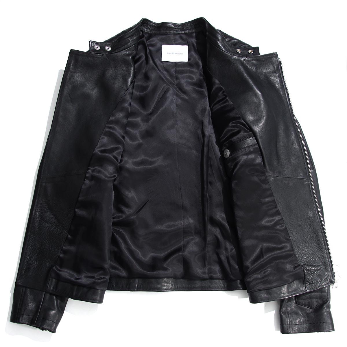 pierubaruman PIERRE BALMAIN骑手茄克LEATHER JACKET BLACK黑色派hp76039l a6016 905人