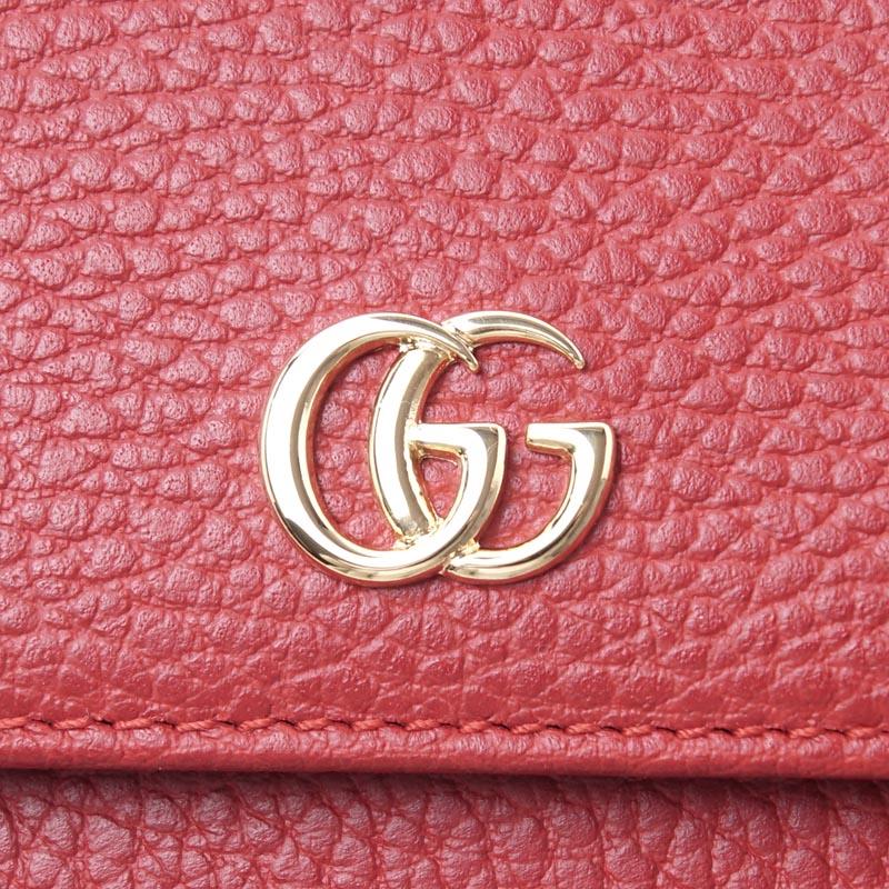 古驰GUCCI 2个机会钱包[有硬币袋]PETITE MARMONT LEATHER红红派456122 cao0g 6433女士