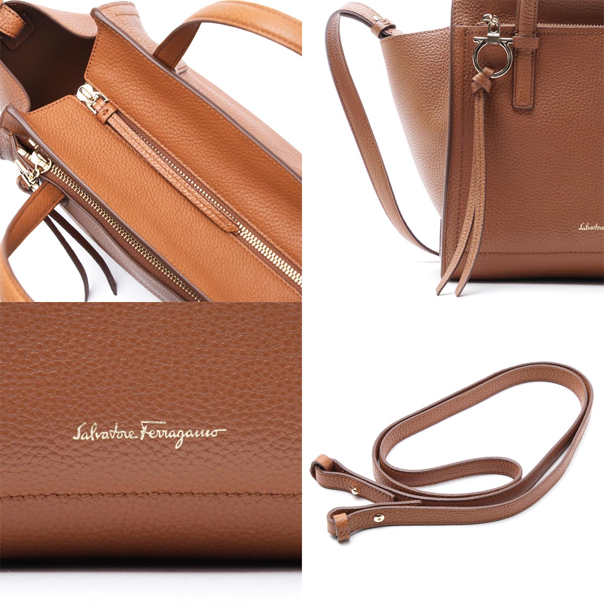 Salvatore Ferragamo Salvatore Ferragamo大手提包(2WAY式样)AMY CALF SELLA棕色派21f478 0656559女士