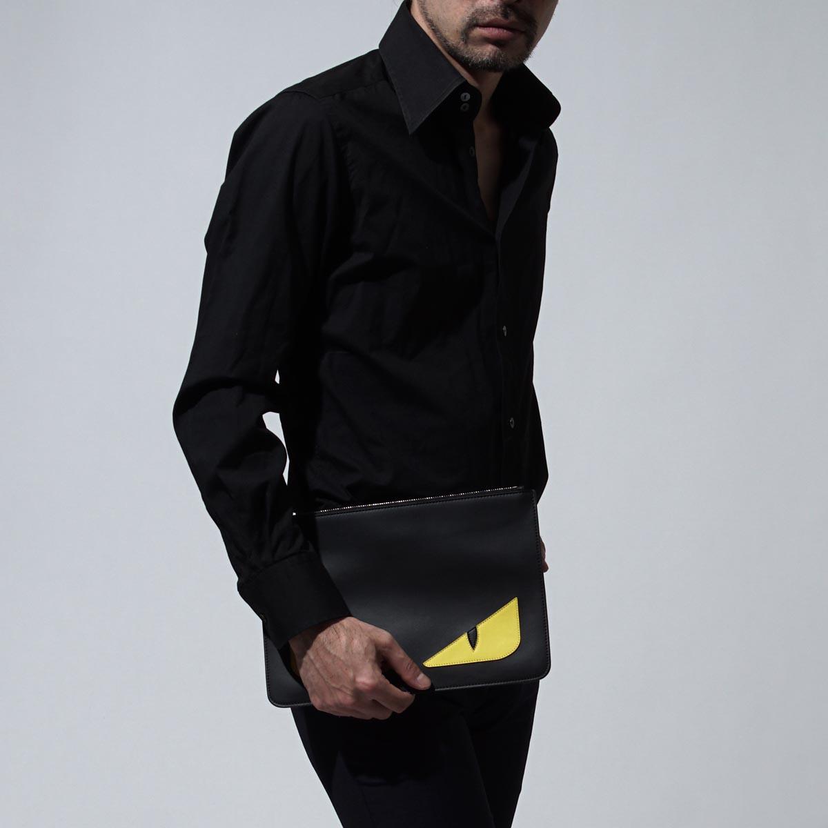 芬迪FENDI離合器袋BAG BUGS SELLERIA包錯誤BLACK黑色派7n0078 o73 f0wad人