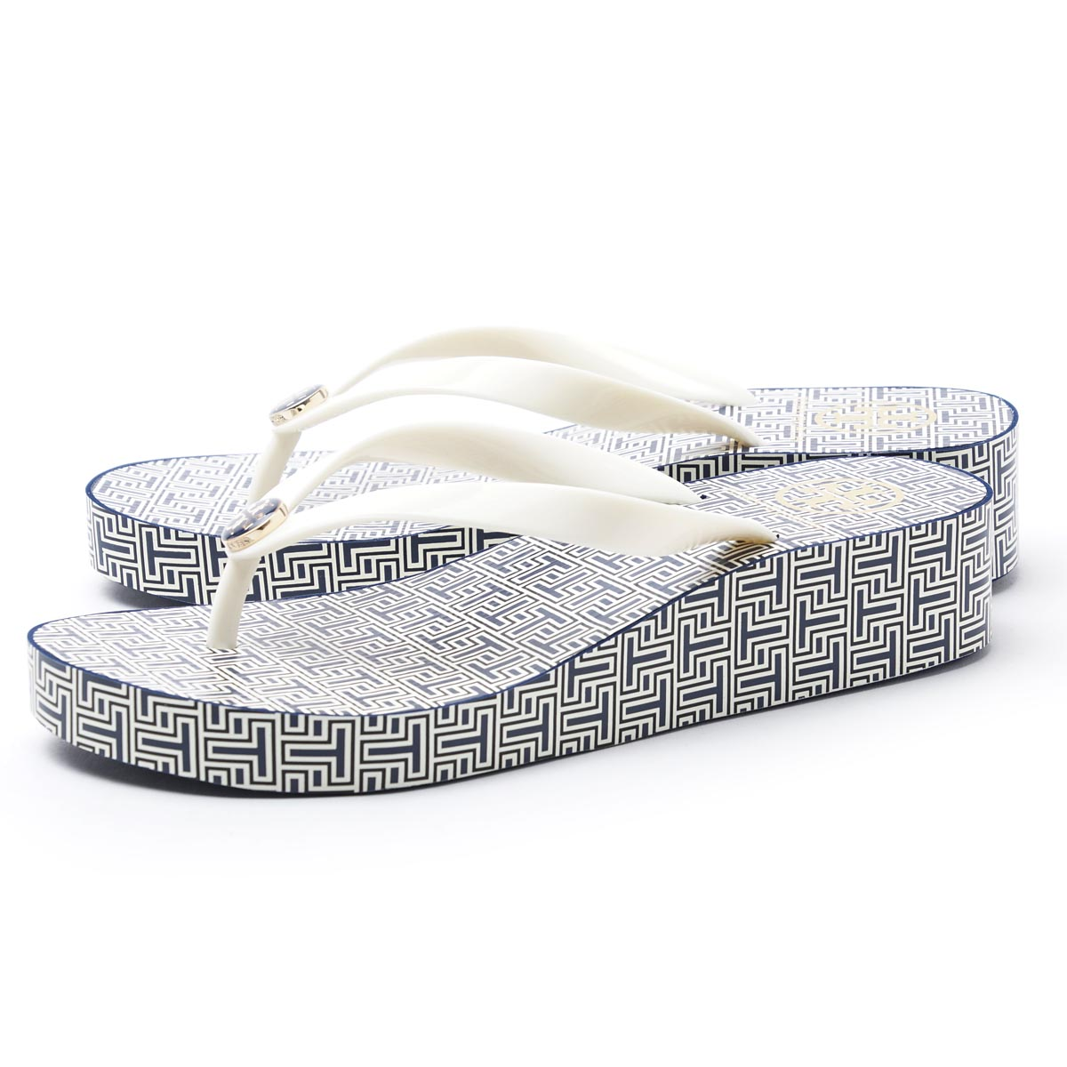 toribachi TORY BURCH Beach sandal WEDGE FLIP FLOP SPRING T SMALL×NEW IVORY蓝色派37477 415女士
