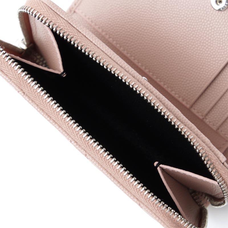 산로란파리 SAINT LAURENT PARIS 반접기 지갑 동전 지갑 핑크 레이디스 지갑 선물 기프트 레더 403723 bow02 6920 MONOGRAM SAINT LAURENT LEATHER