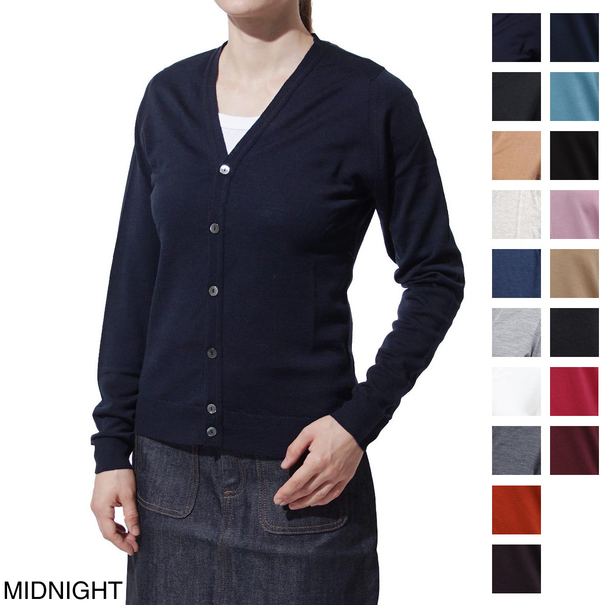 rimini midnight RIMINI in the fall and winter basic the John Smedley JOHN SMEDLEY V neck cardigan Lady's wool U.K.