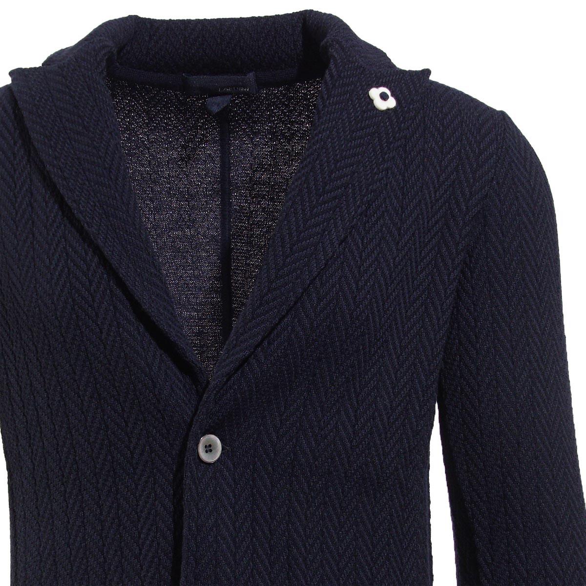 ラルディーニ LARDINI 2つボタン ニットジャケット ブルー メンズ ニット カジュアル モード igljm20 51033 850 MONO PEAKED【あす楽対応_関東】【ラッピング無料】【返品送料無料】【180713】