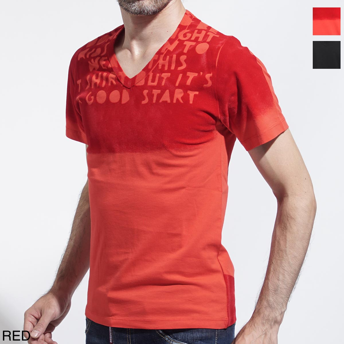 メゾンマルジェラ Maison Margiela Vネック Tシャツ レッド メンズ カットソー プリント デザイン s30gj0007 s20299 968【あす楽対応_関東】【ラッピング無料】【返品送料無料】【180810】
